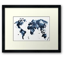 Watercolor map of the world (black and white) Framed Print