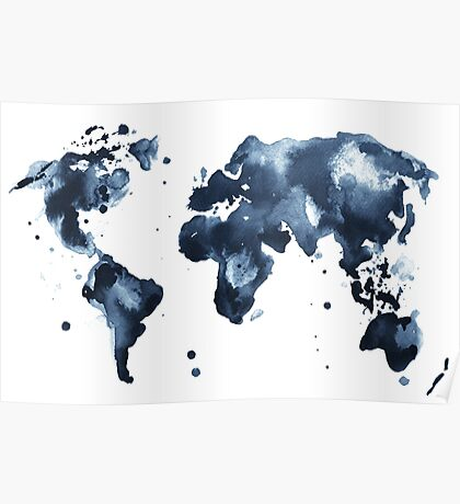 Watercolor map of the world (black and white) Poster
