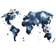 Watercolor map of the world (black and white) Photographic Print
