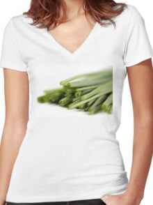Chives Women's Fitted V-Neck T-Shirt
