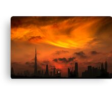 A sunset view of Dubai downtown in a magnificent cloudy evening. Canvas Print