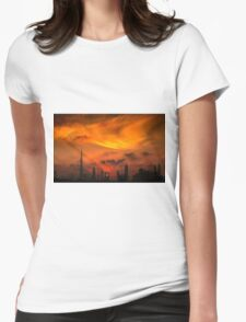 A sunset view of Dubai downtown in a magnificent cloudy evening. Womens Fitted T-Shirt