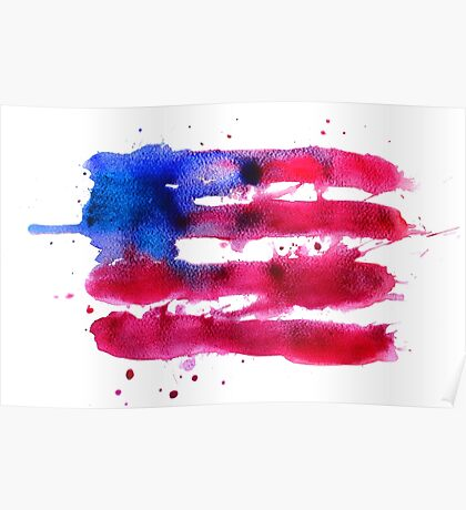 Abstract watercolor flag of the USA Poster
