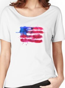 Abstract watercolor flag of the USA Women's Relaxed Fit T-Shirt
