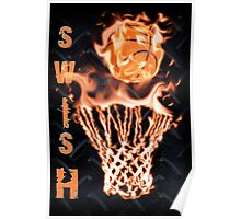 Fire basketball going through flames net Poster