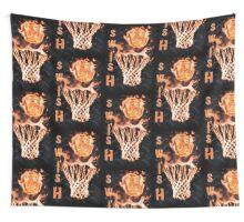 Fire basketball going through flames net Wall Tapestry