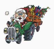 Redneck Santa coming to town in his old tractor Kids Tee