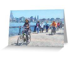 Bicycling Along Pier A Hoboken NJ Greeting Card