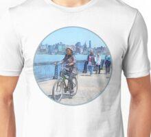 Bicycling Along Pier A Hoboken NJ Unisex T-Shirt