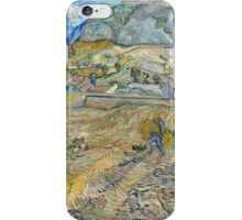 Vincent Van Gogh - Landscape at Saint-Rémy, Enclosed Field with Peasant 1889 iPhone Case/Skin