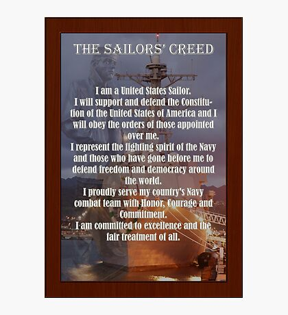 Navy Sailor Creed Poster Photographic Print