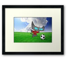 Cat Soccer Star Framed Print