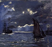 Claude Monet - A Seascape. Shipping by Moonlight  by famousartworks