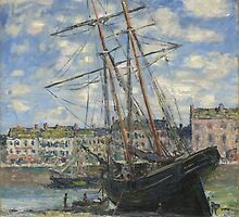 Claude Monet - Boat Lying at Low Tide (1881) by famousartworks