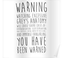 WARNING: Grey's Anatomy Poster