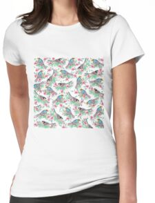 Pretty watercolor birds spring floral paint Womens Fitted T-Shirt