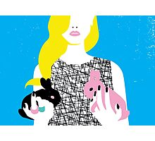 Wonderland girl with two rabbits Photographic Print