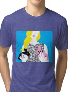 Wonderland girl with two rabbits Tri-blend T-Shirt