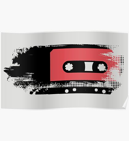 Grunge faded analogue retro audio tape Poster
