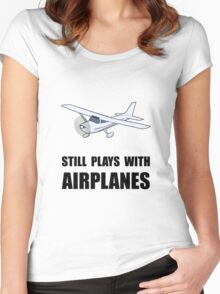 Plays With Airplanes Women's Fitted Scoop T-Shirt