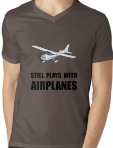 Plays With Airplanes Mens V-Neck T-Shirt