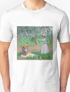 Claude Monet - In the Woods at Giverny Blanche Hoschedé at Her Easel with Suzanne Hoschedé Reading 1887 T-Shirt