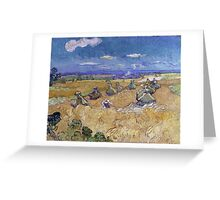 Vincent Van Gogh - Wheat Fields with Reaper, Auvers, Impressionism. - Wheat Fields with Reaper, Auvers, 1890. Famous Paintings. Impressionism. Greeting Card