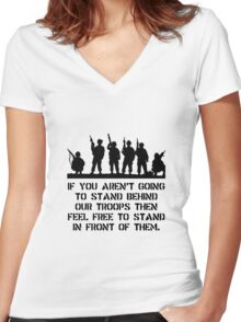 Stand Behind Troops Women's Fitted V-Neck T-Shirt