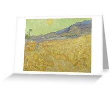 Vincent Van Gogh - Wheatfield with a reaper, Impressionism Van Gogh Greeting Card