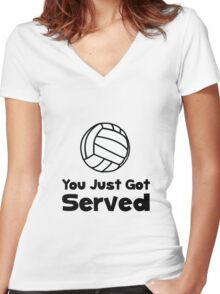 Volleyball Served Women's Fitted V-Neck T-Shirt