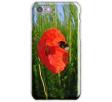 Bumble bee and poppy flower iPhone Case/Skin