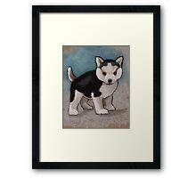 Cute Husky Puppy, Blue Eyes, Oil Pastel Painting Framed Print