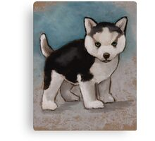Cute Husky Puppy, Blue Eyes, Oil Pastel Painting Canvas Print