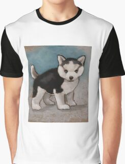 Cute Husky Puppy, Blue Eyes, Oil Pastel Painting Graphic T-Shirt