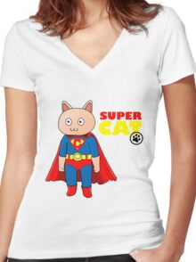 SuperCat Women's Fitted V-Neck T-Shirt