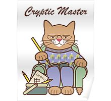 Cryptic Master Crossword Cat Poster