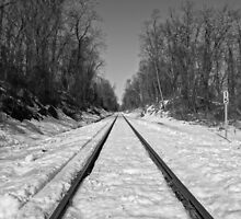 Train Tracks on a snowy winter day by CSSphotos