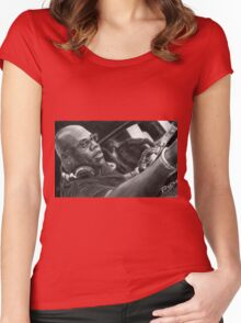Carl Cox Pencil Drawing Women's Fitted Scoop T-Shirt