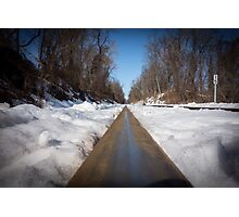 Train Tracks on a snowy winter day Photographic Print
