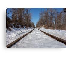 HDR Snowy Train Tracks Canvas Print