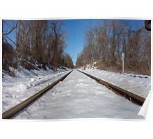 HDR Snowy Train Tracks Poster