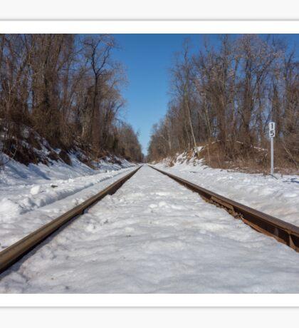 HDR Snowy Train Tracks Sticker