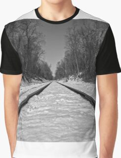 Black and White Train Tracks Graphic T-Shirt