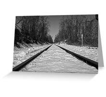 Black and White Train Tracks Greeting Card
