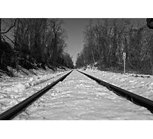 Black and White Train Tracks Photographic Print