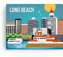 Long Beach - Skyline Illustration by Loose Petals Canvas Print