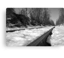 Train Tracks on a snowy winter day Canvas Print