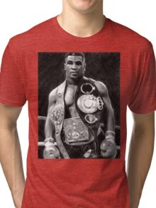 Mike Tyson Pencil Drawing Tri-blend T-Shirt