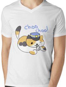 Conductor Whiskers Choo Choo Mens V-Neck T-Shirt
