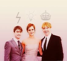 Harry Potter the Golden Trio by chloeshipsphan